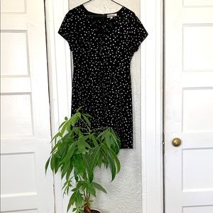 Medium Black and White star print dress, lace up
